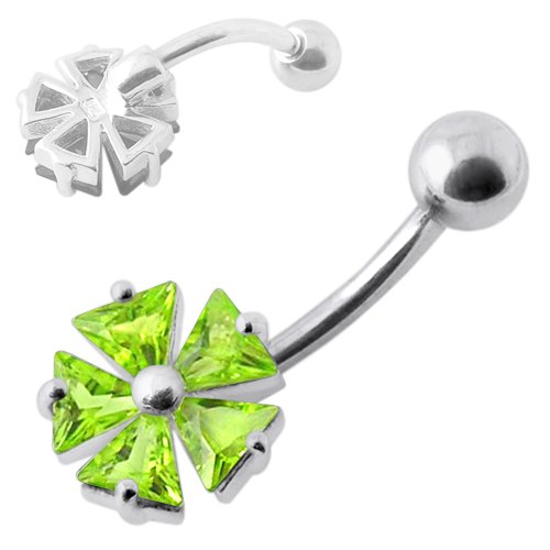 Light Green Jeweled Fancy Umbrella Shape 925 Sterling Silver Belly Jewelry With 14Gx3/8(1.6X10Mm) 316L Surgical Steel Banana And 5Mm Ball.