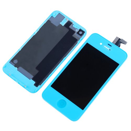 Replacement Full Set Front Lcd Display & Touch Screen Digitizer Assembly With Home Button + Back Cover Housing Compatible For Verizon/Sprint Iphone 4 Cdma - Light Blue
