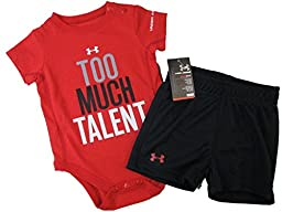 Under Armour Baby-Girls Newborn Too Much Talent Short Set, Red/Black/White/Steel, 3-6 Months