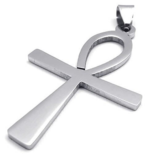 AnaZoz Stainless Steel Pendant Necklace 18-26Inch Link Cross Egyptian Ankh Unisexs Fashion Jewelry