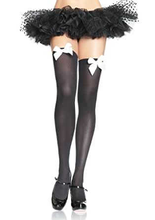 Leg Avenue Women's Opaque Thigh-High Hosiery With Bows, Black/Pink, One Size
