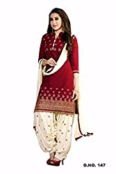 JJR Store Designer Red Cotton Embroidered Dress material