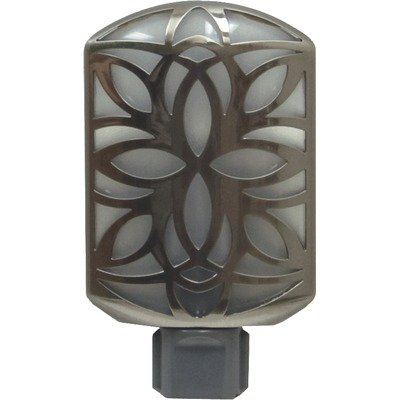 GE 11314 LED Night Light, Faux Metallic Brushed Nickel Petal Design