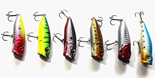 """Kathy Store INC 6 Pcs 7cm/2.75"""" Length Fishing Topwater Floating Popper Poper Lure Hooks Bait Crankbait Hard Bait"""