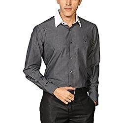 Provogue Men's Casual Shirt (8903522448959_103655-GY-43_Small_Charcoal)