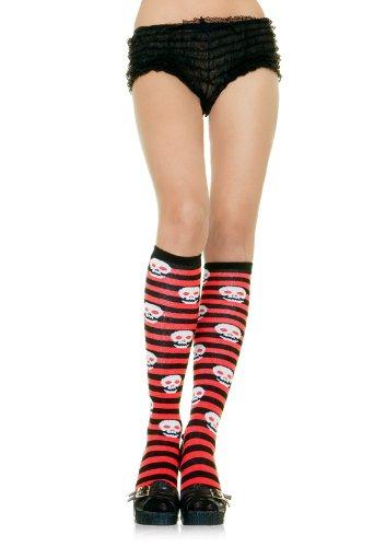 Leg Avenue Lycra Acrylic Red & Black Striped Silver Skull Knee Highs