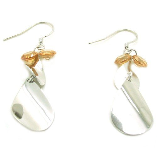 925 Sterling Silver Dangle Earrings with Yellow Zircon Inserted