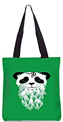 Snoogg Panda With Beard Designer Poly Canvas Fashion Printed Shopping Shoulder Lunch Tote Bag For Women