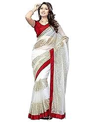 Bano Tradelink Women's Net Saree (Btl_Tr1360, White)