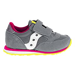 Saucony Jazz Hook and Loop Sneaker (Toddler/Little Kid),Grey/Pink,9 M US Toddler