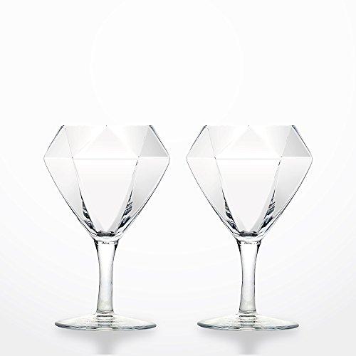 ダイヤモンドの形をしたワイングラス 【Diamond Glass ダイヤモンドグラス】 ショートステム(高さ140mm) クリア 2個セット《日本製・熟練の職人によるハンドメイド》 GLA011CS