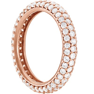 Sterling Silver 3 Row Cubic Zirconia Eternity Band 14kt Rose Gold Overlay