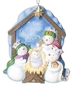 "5.5"" Snowman Nativity Ornament Hallelujah by Roman"