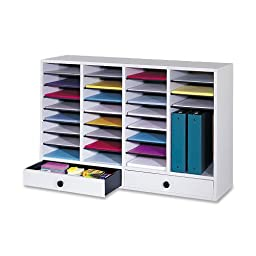 Safco Products 9494GR Wood Adjustable Literature Organizer, 32 Compartment with Drawer, Gray