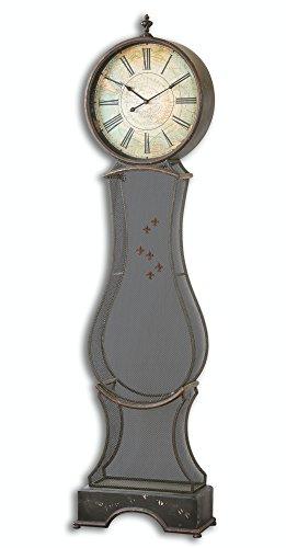 75.75 Vintage Inspired World Traveler Standing Floor Clock with Decorative Magnets