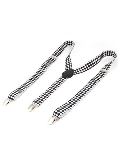 Unisex White Black Argyle Pattern Adjustable Y-Shaped Suspender Braces
