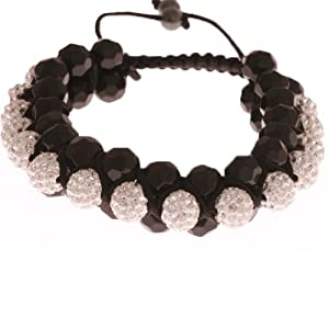 Sparkling Triple Layer Black, Clear Crystal, and White Adjustable Disco Ball Shamballa Bracelet!