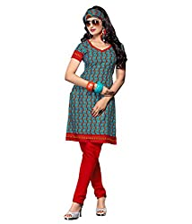 fabgruh Light Blue & Red colour dress material