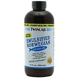 TwinLab - Emulsified Norwegian Cod Liver Oil Orange, 12 fl oz liquid