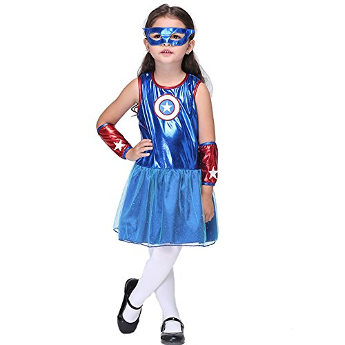 Afoxsos Kids Girls Halloween Costume Capitain America Dress Up