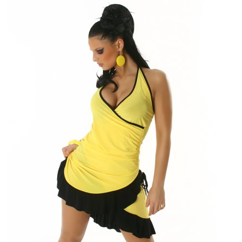 Jela London Unità Dress abito da cocktail da ballo con scollo a V bicolore colori correnti delle donne Giallo-Nero 36,38,40,42