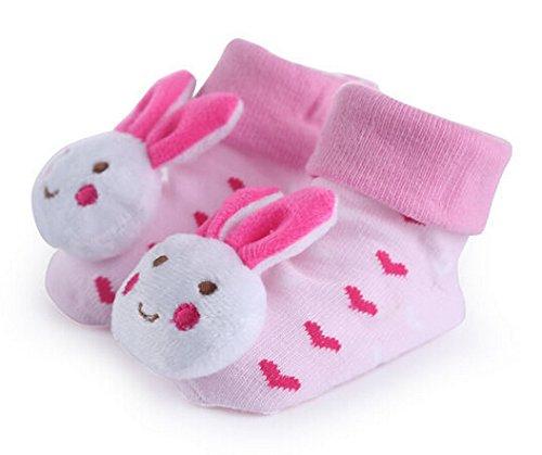 Pumud Unisex Baby Infant Toddler 3D Anti Slip Skid Socks (Pink Bunny) front-895678