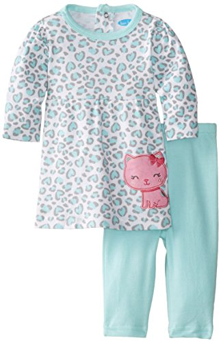 Bon Bebe Baby-Girls Newborn Kitty Cat Animal Print 2 Piece Dress And Legging Set, Multi, 6-9 Months front-1026586