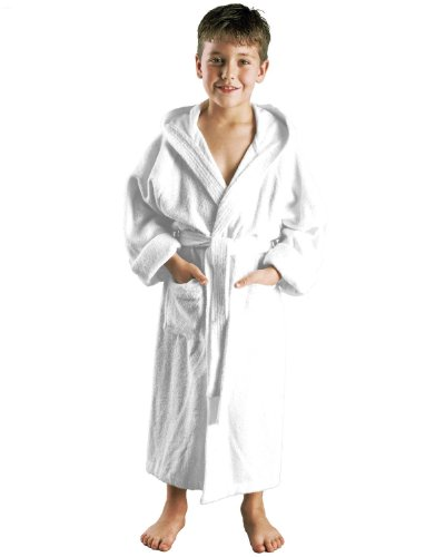 Child's Hooded Bathrobe to Fit Boys and Girls, 6-8 Years, White, 100% terry cotton, 10 oz/yd2 (350 g/m)