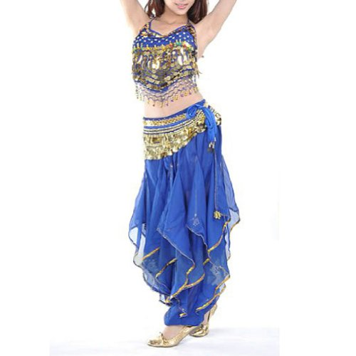 BellyLady Practice Belly Dancing Costume, Halter Tribal Top and Harem Pants