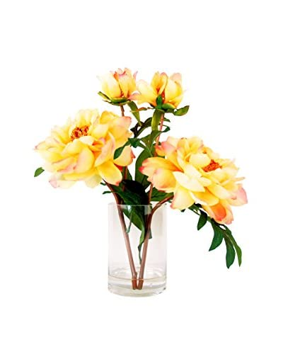 Creative Displays Yellow Peony Water Floral, Yellow/Pink