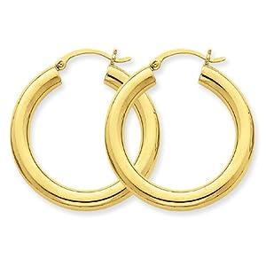 10k Polished 4mm x 30mm Tube Hoop Earrings