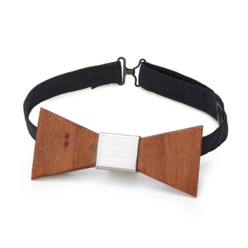 Wood Thumb Brown Recycled Wood Bow Tie w/ Polished Steel Knot