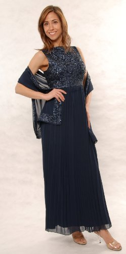 Great Mother of the Bride Navy Gown with very Big Shawl..... (Large)