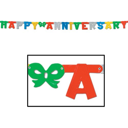 Foil Happy Anniversary Streamer (multi-color) Party Accessory  (1 count) (1/Pkg)