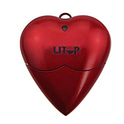 Litop® 32GB Red Heart Shape Design USB Flash Drive USB 2.0 Memory Disk with 1 Neck Strap and 1 Wrist Strap (Red, 32GB)