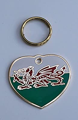 Dog Id Tag Welsh Dragon Flag Design Engraved Free - Tick Gift Message Box And Enter Details For Engraving