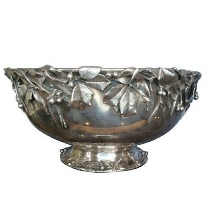 HOLLY BY WHITING STERLING SILVER BOWL APPLIED LEAVES & BERRIES MUSEUM QUALITY