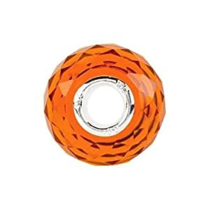 Kera Orange Faceted Glass Bead in Sterling Silver - Fits Most Pandora Bracelets