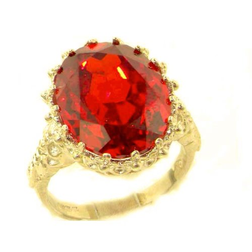 Luxury Solid 14K Yellow Gold Large 16x12mm Oval 17ct Synthetic Orange Sapphire Ring - Size 9.25 - Finger Sizes 5 to 12 Available - Perfect Gift for Birthday, Christmas, Valentines Day, Mothers Day, Mom, Mother, Grandmother, Daughter, Graduation, Bridesmaid.