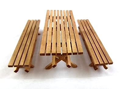 Dolls House Miniature Garden Furniture Slatted Wood Picnic Table and Bench Set