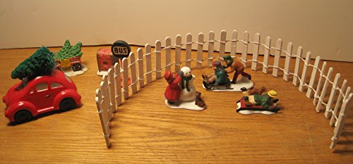 Department 56 Christmas Village Ceramic Accents, 8 Piece, Bus Stop Sign/Mailbox/Tree Cart/VW with Tree/3 Piece Children Playing/18 inch White Picket Fence