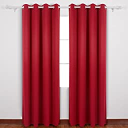 Deconovo Grommet Room Darkening Thermal Insulated Blackout Curtains with Backside Silver for Dining Room 52 By 95 Inch, Ture Red, 1 Pair
