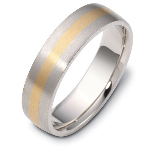 10K Two-Tone Gold, Domed Contemporary Brushed 6MM Wedding Band (sz 7.5)