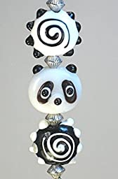 Black and White Ling Ling Panda Glass Ceiling Fan Pull Chain