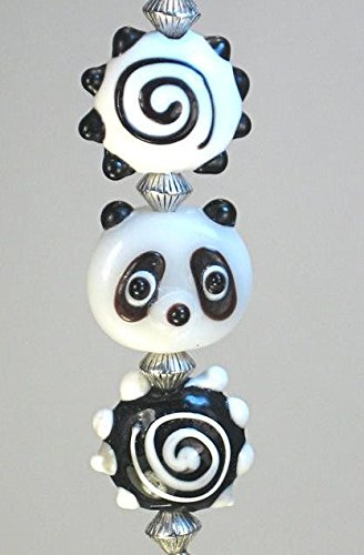 Black and White Ling Ling Panda Glass Ceiling Fan Pull Chain (Fan Pull Panda compare prices)