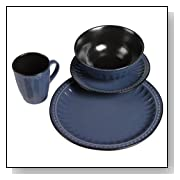 TTU Gallery 16-Piece Reactive Glaze Beads Dinnerware Set, Blue