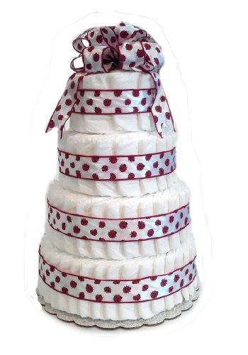 Ladybug Red and White - Baby Shower Diaper Cake/Centerpiece (4 Tier)