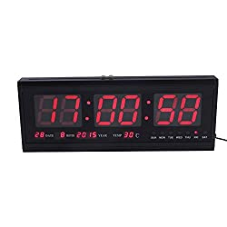 Large Digital Led Wall Modern Clock Timer with Calendar Temperature for Living Room, Office, Meeting Room - 18 (Red)