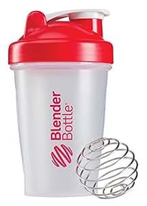 BlenderBottle Classic Shaker Bottle, 20-ounce, Clear/Red