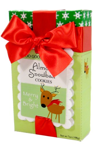 Too Good Gourmet Jolly Stamp Christmas Reindeer Cookies, Almond Snowball, 7 Ounce